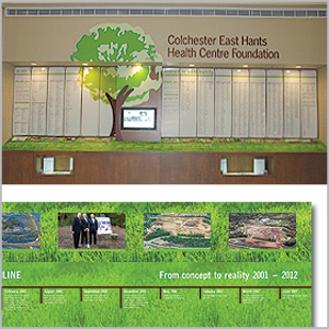 Colchester East Hants Health Centre Foundation's donor wall design and install \ by Visual Voice